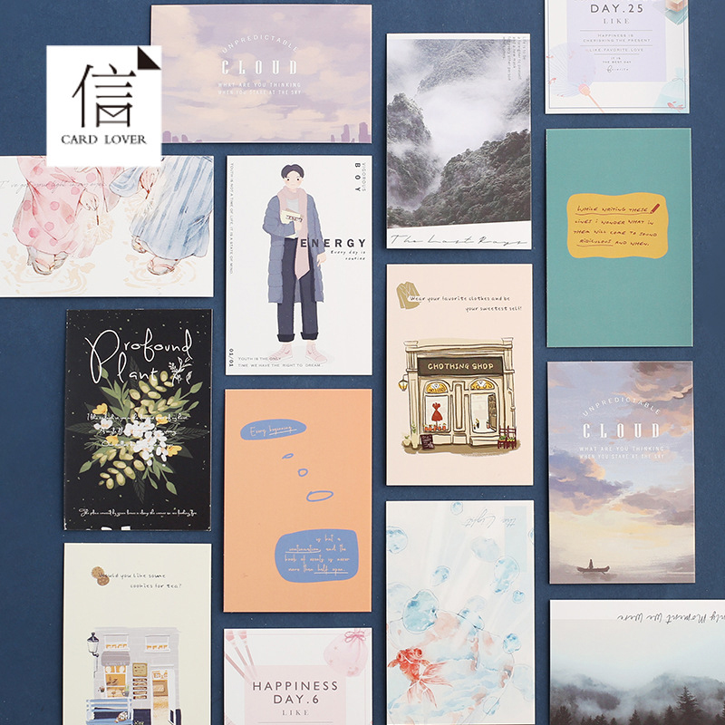 28cards/box LOMO Card  52*80mm Small Gift Card Mini Message Notes Card DIY Bookmark Postcard Office And School Stationery