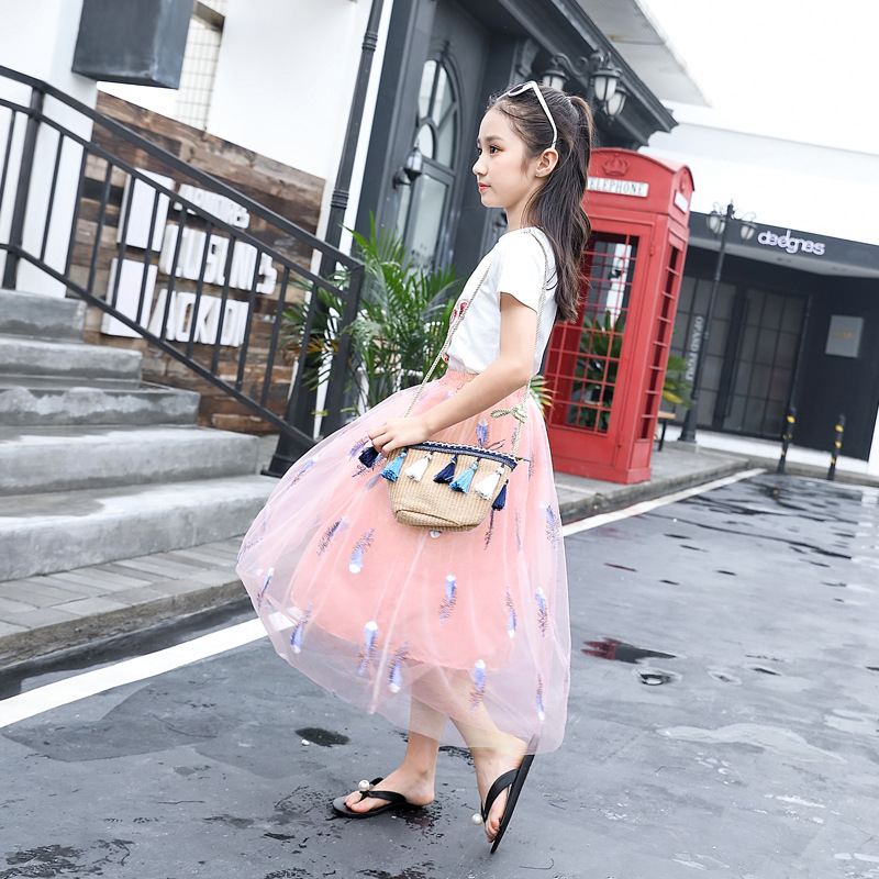 Tutu Skirt for Baby Girl Chiffon Princess Long Skirt Girls Embroidery Feather Costume Korean Kids Clothes Mother Daughter Skirts in Skirts from Mother Kids