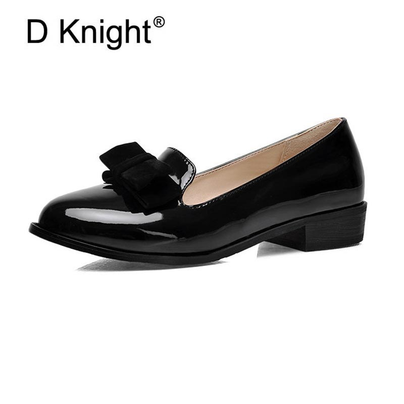 New Women Patent Leather Loafers Fashion Round Toe Women Flats England Style Bow Oxfords For Women Ladies Casual Flat Shoes new round toe slip on women loafers fashion bow patent leather women flat shoes ladies casual flats big size 34 43 women oxfords