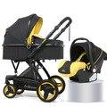 Коляска для новорожденных  3 в 1  с системой автомобильных сидений  Роскошные  из полиуретана и алюминиевого сплава