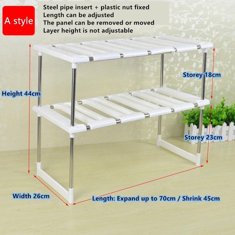 Free shipping Floor Stainless Steel Retractable Lower Tank Storage 2 Stairs Kitchen Shelf Cabinet Storage rack