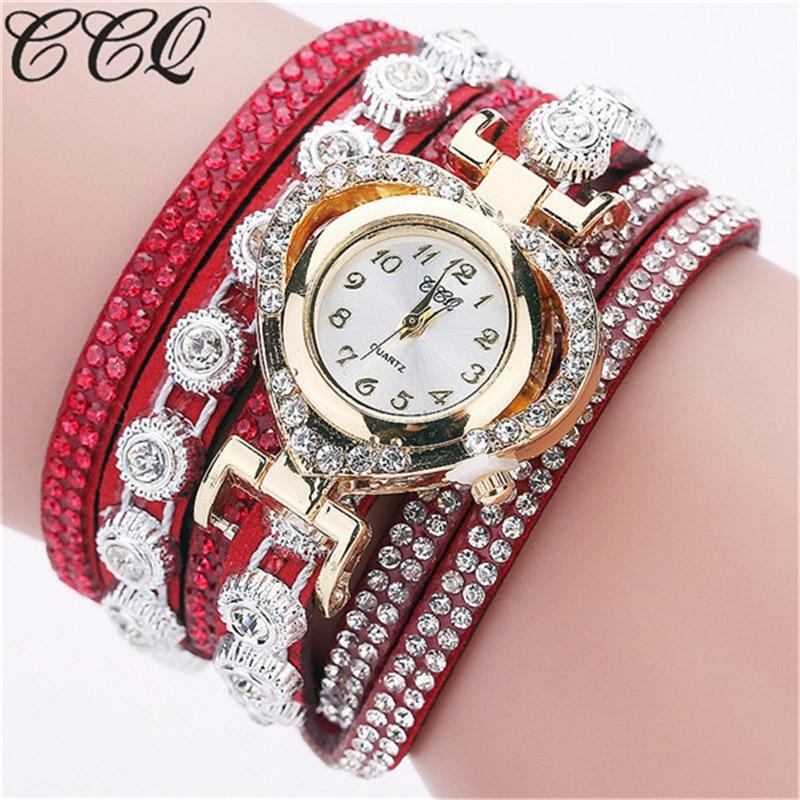 CCQ Women Vintage Rhinestone Crystal Bracelet Dial Analog Quartz Wrist Watch Dress Quartz Watch 2019 Femme Gift Reloj Mujer Q