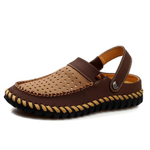New Summer Style Men Flat Sandals Genuine Leather Slip on Creepers Breathable Beach Shoes Casual Sandalias Hombre Slippers