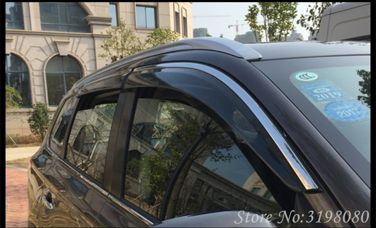 4PCS/SET Car Deflector For Toyota CHR 2017 Window Visor Door Visor,PC+Stainless Steel,Weather Rain Sun guard, Car Accessories 4pcs set smoke sun rain visor vent window deflector shield guard shade for hyundai tucson 2016
