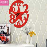 27x27cm Acrylic hollow digital pattern wall clock mirror wall stickers living room bedroom study restaurant wall stickers N5