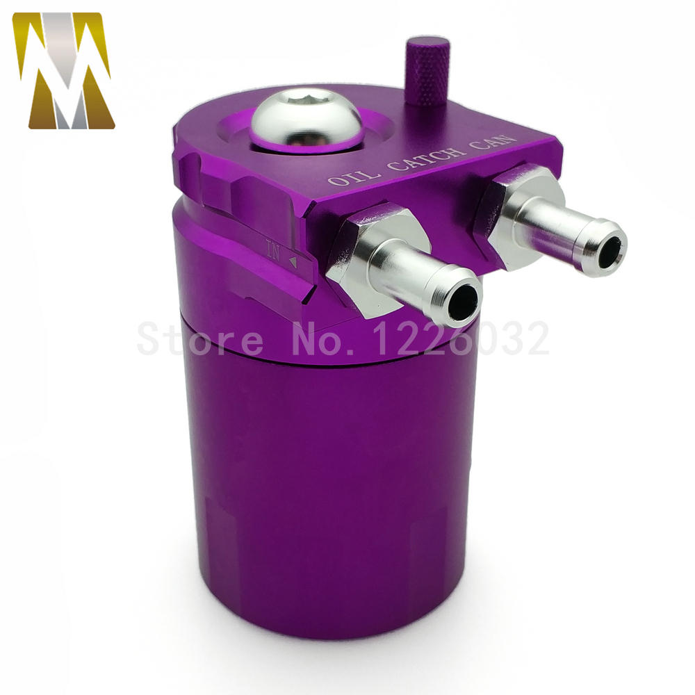 New Purple 250ML Baffled Aluminum Racing Car Oil Catch Can Reservoir Tank Purple Color Universal цена