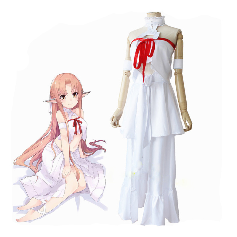 Anime Sword Art Online Cosplay Costume Red Skirts Yuuki Asuna Prison Clothes Full Set Costumes