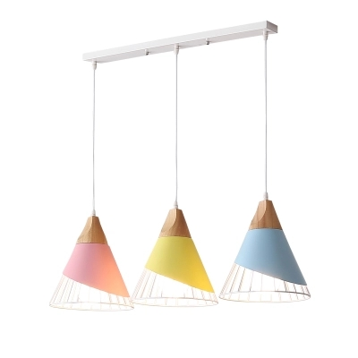 Toolery Creative Design Art Pendant Lights Living Room Macarons Colorful Droplight Iron Wood Material Combo LED Pendant Lamps
