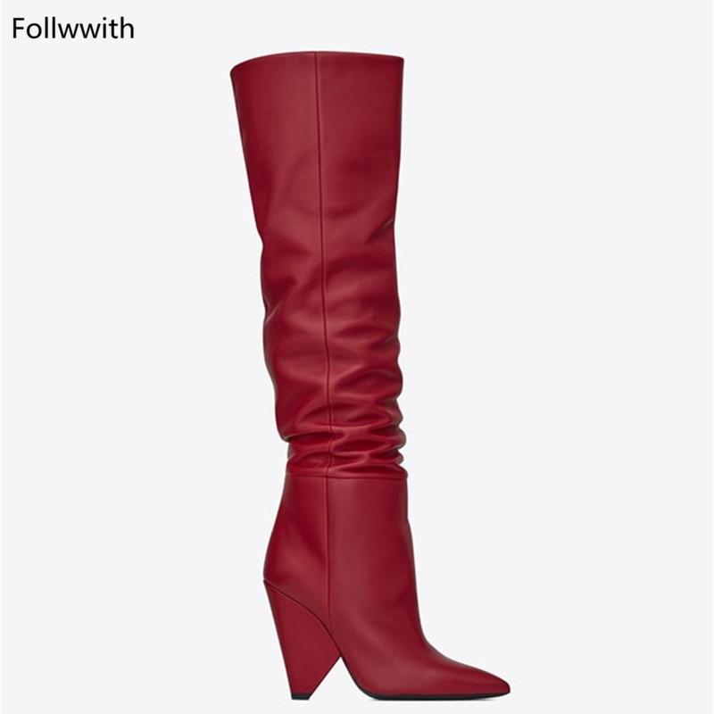 as Femmes Zapatos Haute Concepteur Pic Chaussures As Mujer Bottes Luxe De Automne Cuir New Véritable Hiver Genou Couleurs Rouge Pic Talons En 6SRr6qw