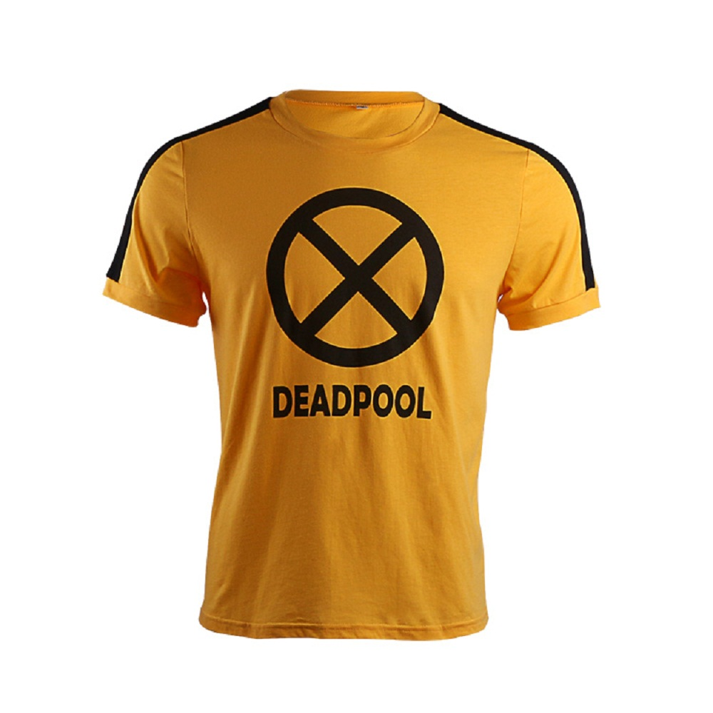 2018 Movie Deadpool 2 T-shirts Superhero Wade Winston Wilson Yellow Short Sleeve V-Neck Cotton Cosplay Tee Shirts Halloween