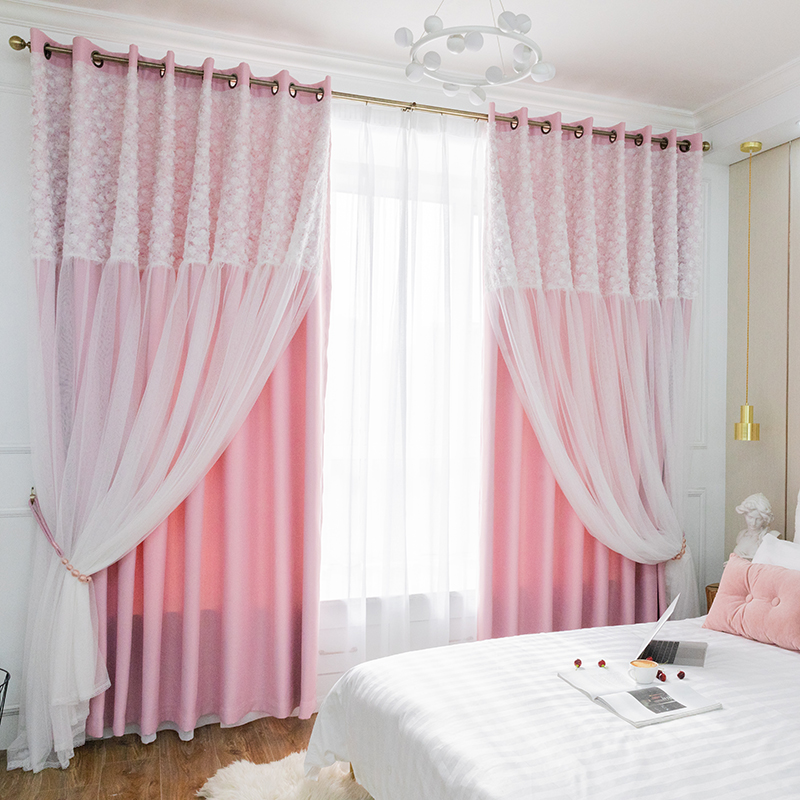 Chicity Tulle Black Out Double Curtains with rose Lace High BlackOut Blinds Window Curtains For Livingroom Customized in Curtains from Home Garden