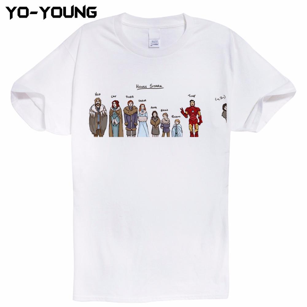 nueva divertido juego de tronos casa stark jon nieve hombres camisetas de diseo impreso digital