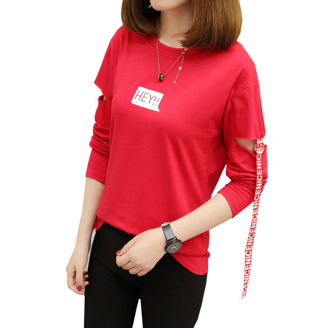 6e15fe04 fashion womens t-shirt style broken hole letter printed long sleeve ladies  hip hop t shirt loose fit casual tee shirt tops women