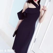 [NEW SALE] Sexy Ruffle Racerback Placketing Halter-neck Mid-calf Dress Elegant Formal Dress Black Pink color