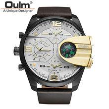 2017 Marque De Luxe reloj hombre Montre D'affaires Bracelet En Cuir Militaire Double Affichage Boussole Design Sport Quartz Oulm Hommes Montres