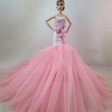 f921ae512c5 Платье куклы Высокое качество длинный хвост ручной вечернее платье одежда  кружевное свадебное платье для куклы Барби best подаро.