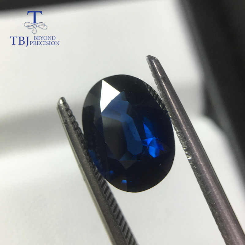 6abab2f5679a5 TBJ,Natural heated african blue sapphire oval 7.7*10.4mm ard 2.88ct,loose  gemstone for 925 silver or gold jewelry mounting