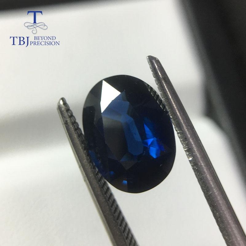TBJ, saphir bleu africain chauffé naturel ovale 7.7*10.4mm ard 2.88ct, pierre précieuse en vrac pour montage de bijoux en argent ou en or 925