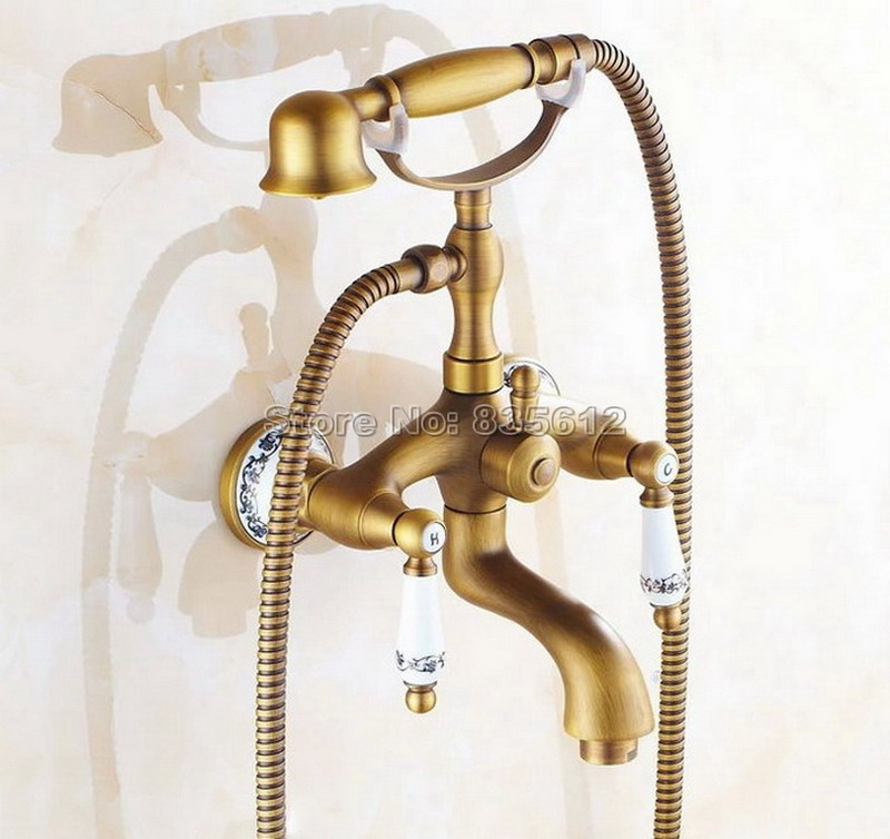 Telephone Style Handheld Shower Head Dual Handles Bath Tub Mixer Tap Antique Brass Wall Mounted Bathroom Faucet Wtf311