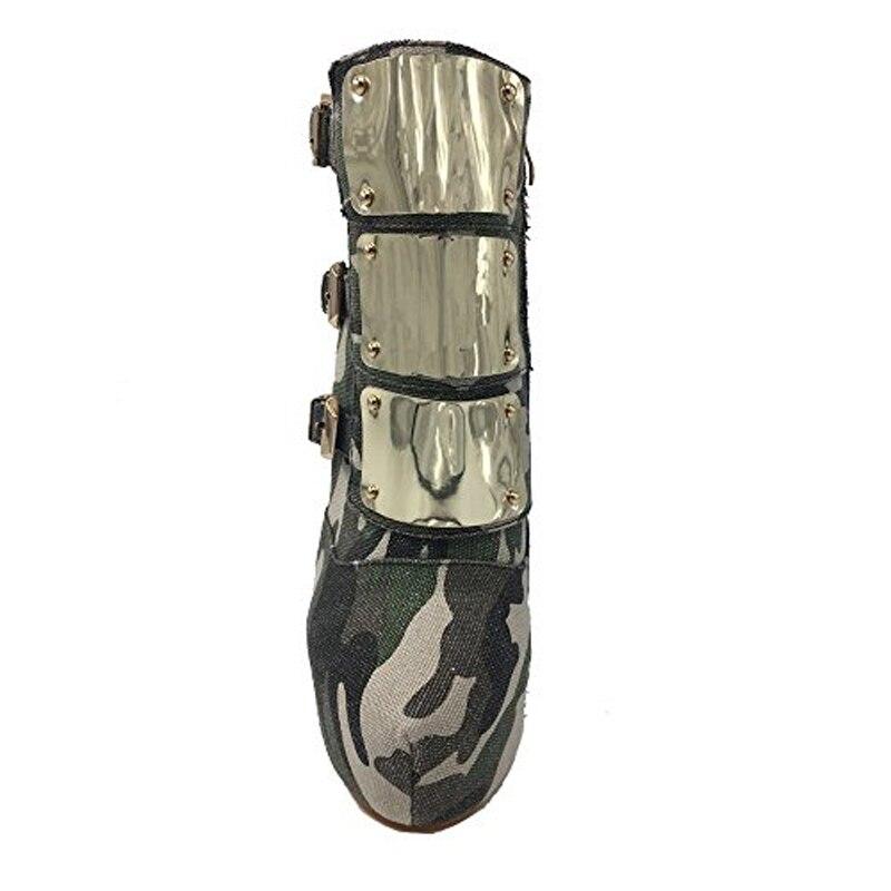 En Automne Camouflage Green Arden Boucle Plate 45 Talons Rond forme De 12 Furtado Métal Cheville Bottes Bout Décoration Hiver Haute Stylets 2018 Cm 3RjL4A5