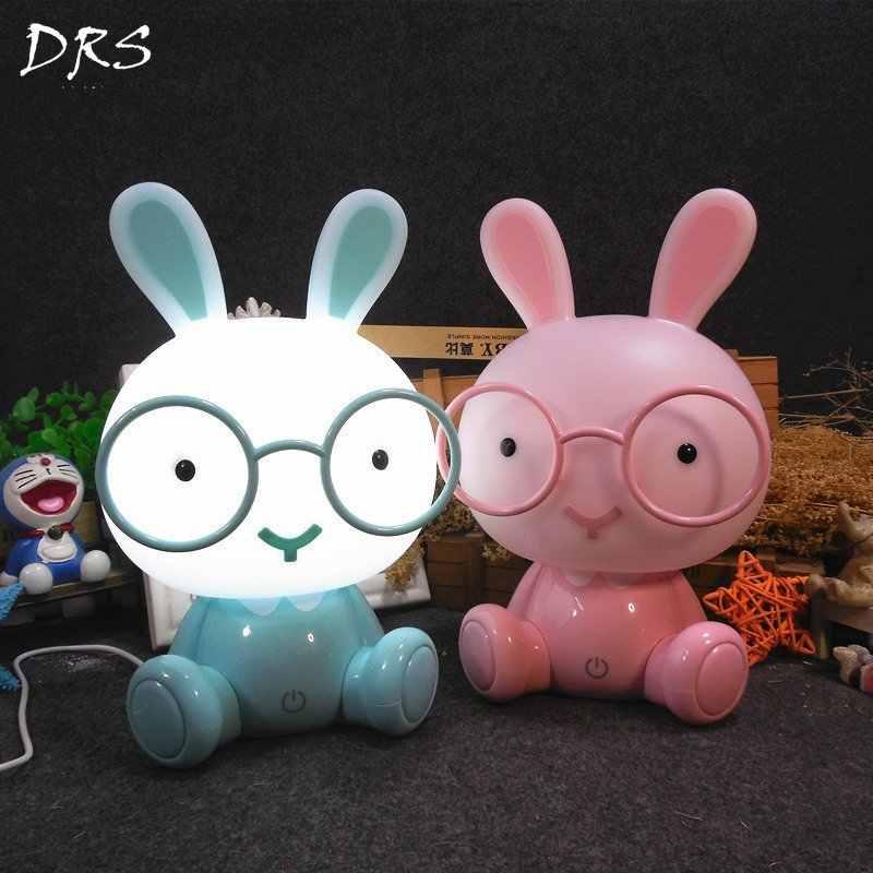 Современный мультфильм очки кролик ночник для детей Детская комната светодиодный Ночной светильник с usb-портом Рождественский подарок прикроватный Декор Светильник