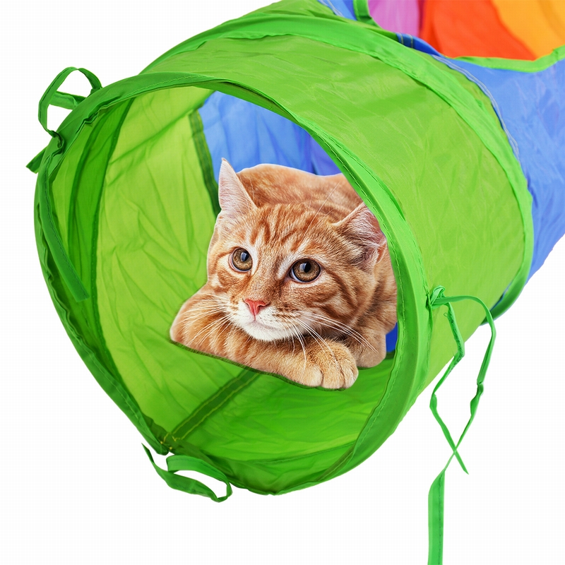 Multicolor Interactive Toy Foldable 2 Holes Cat Tunnel With Ball Kitten Toy Bulk Toys Pet Accessories Funny Pet Tunnel Cat Toy image
