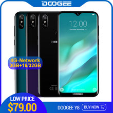 DOOGEE Y8 Android 9.0 FDD LTE 6.1inch 19:9 Waterdrop LTPS Screen Smartphone MTK6739 3GB RAM 16GB ROM 3400mAh Dual SIM 8.0MP(China)