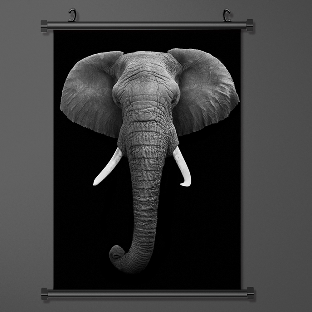 Wall Scroll Painting Black And White Elephant Art Silk Fabric Poster And Print Wall Art Picture Wall Hanging Poster Home Decor