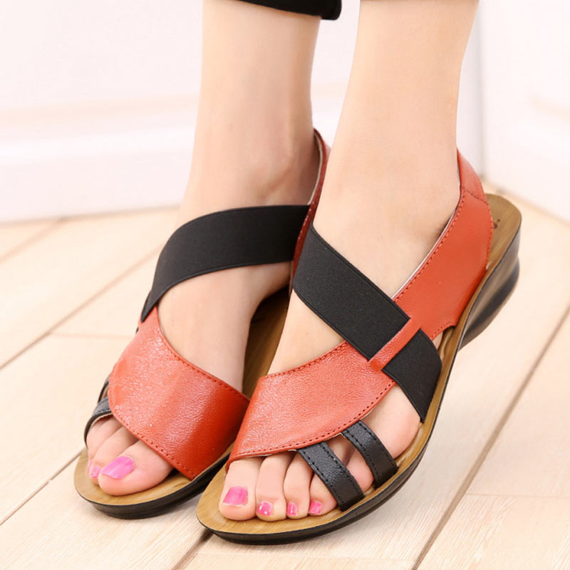 Summer Sandals Women Leather Low Heels Ladies Slippers