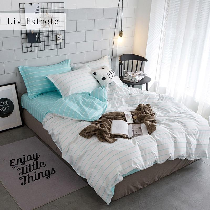 Liv Esthete Simple Stripes Ensemble De Literie Vert Et Blanc Housse