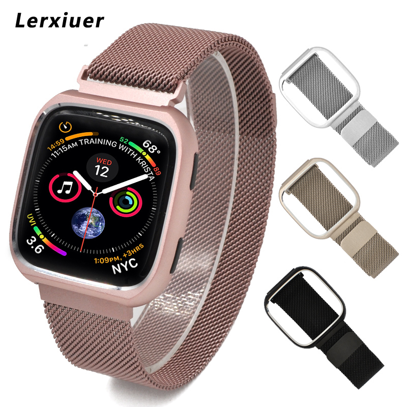 Milanese Loop bands for fitbit versa stainless steel strap sport watchband metal Protective case shell & watch wrist band