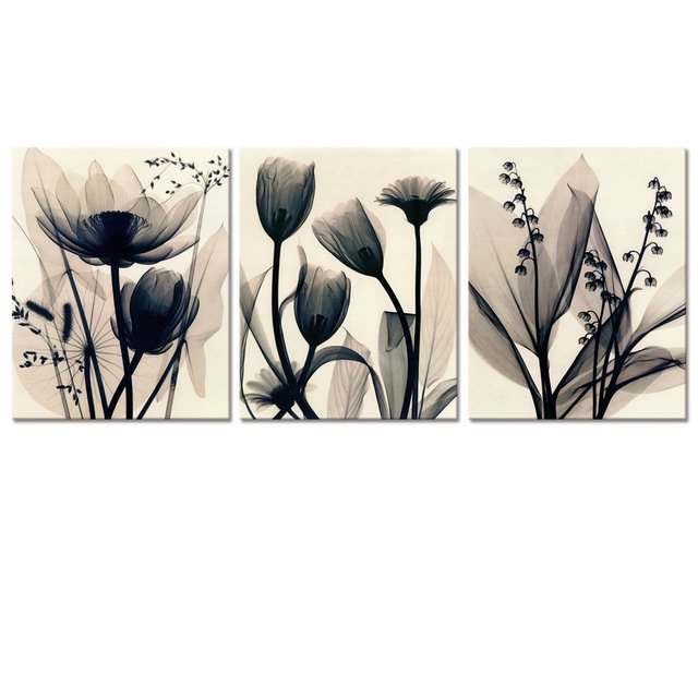 Visual art decor flowers canvas wall art decor black and white floral painting prints photograph picture