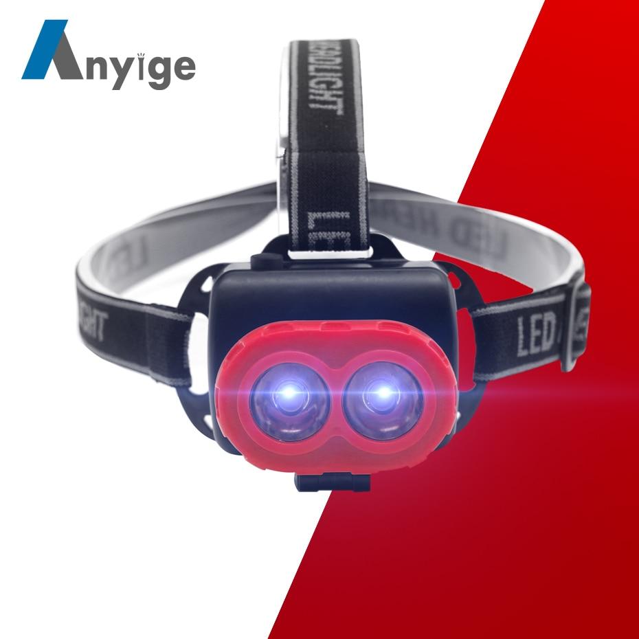 ANYIGE Mini Headlamp 1Mode Head Flashlight Frontal Headlight Torch Lamp For Camping Hunting Night Light Fishing Using AA Battey
