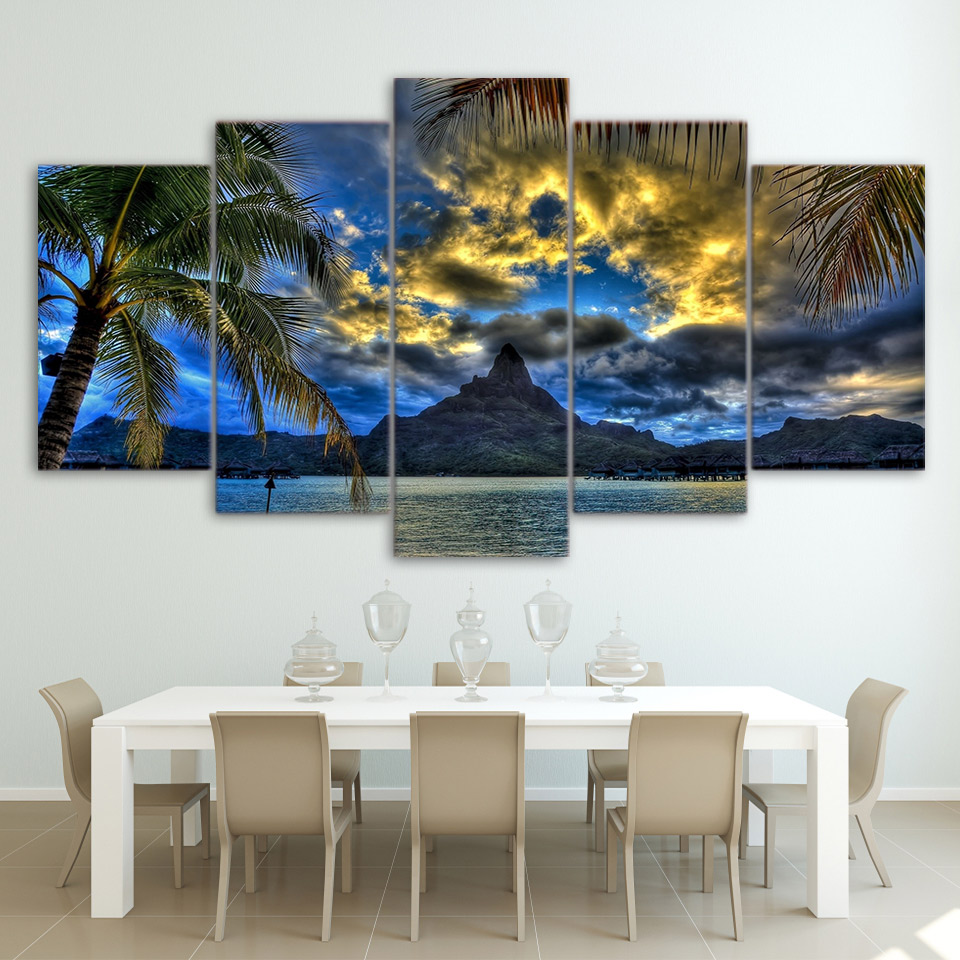 Modern Home Wall Art Decor Frame Modular Pictures 5 Pieces Clouds Mountain Tropical Island Landscape HD Print Painting On Canvas