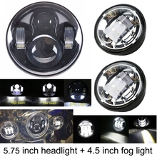 5.75 Inch LED Headlight High/Low Beam with DRL + 4.5 inch Fog Lights for Harley Motorcycle (3 PCS)