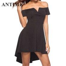 613d581b342 ANTIME Dresses A Line Short Sleeve Black Women Casual Off Shoulder Slash  Neck Spring Summer Pretty