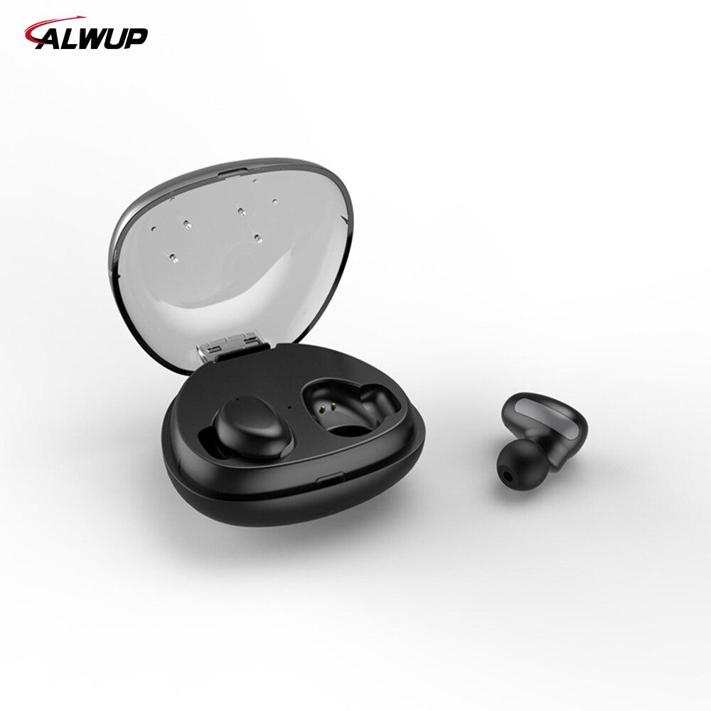 ALWUP TWS Mini Sem Fio Bluetooth Estéreo de Fone De Ouvido Para Xiaomi Huawei Móvel Esporte Earbud Fone de Ouvido Com Microfone Caixa de Carregamento Portátil