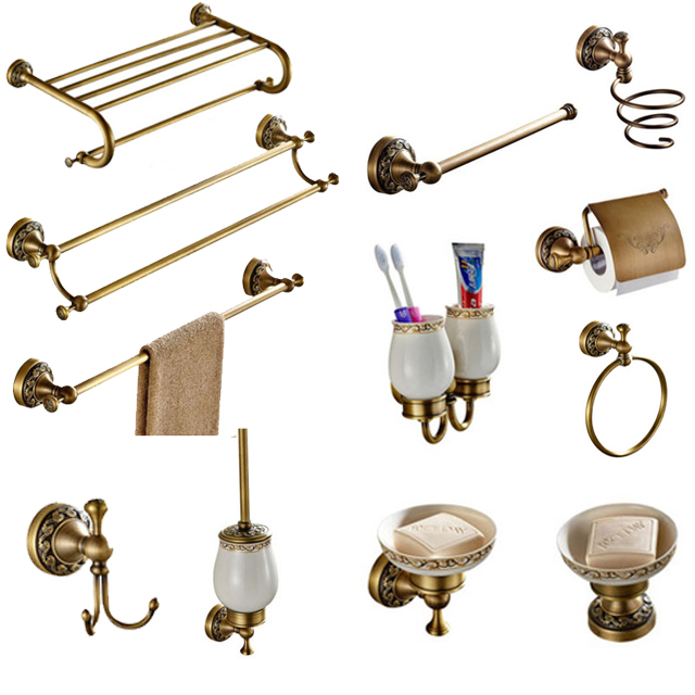 Brass Carved Collection Antique Soap Basket Antique Safety Handrail Bathroom Accessories Creative Faucet Bathroom Hardware Set