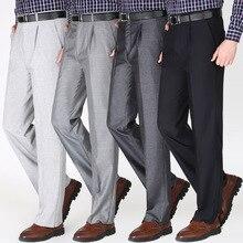 Среднего возраста мужские костюмы брюки летние тонкие брюки с высокой талией мужские одиночные плиссированные деловые Повседневные платья брюки мыть и носить