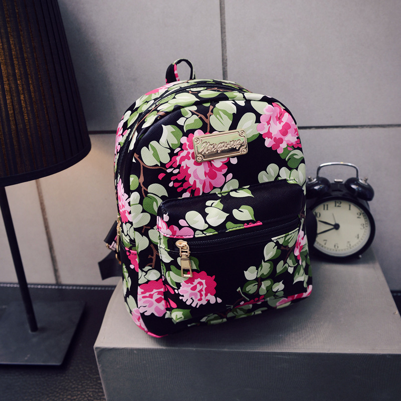 ZHIERNA High Quality New arrive Flower style Backpack School Bags For Teenagers PU Leather Women Backpacks Girls Travel Bag