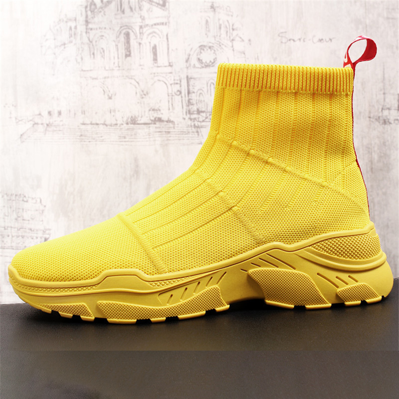 Mens Yellow Casual Comfort Shoes High Top Socks Shoes Man Breathable Short Cowboy Boots Black Trending