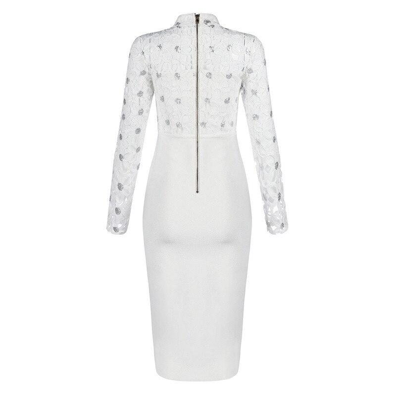Blanc Maille Moulante Manches À Sur Partie White Celebrity Femmes Bandage Robe Genou Longues 1twY1zrq