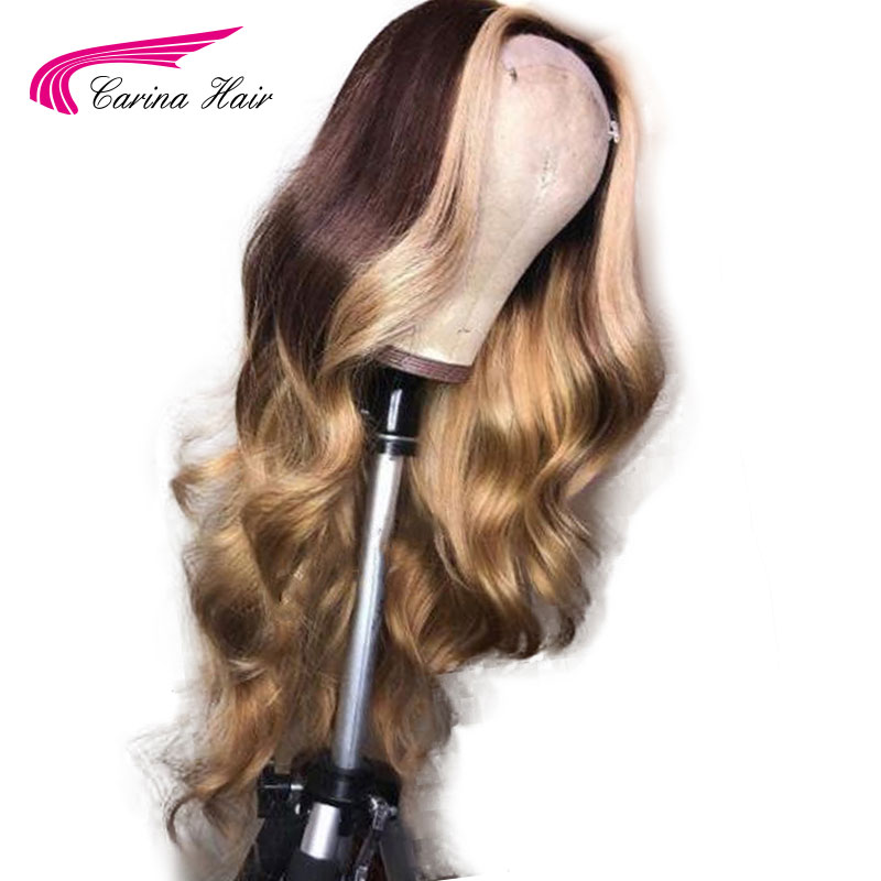 Carina 130 Density Lace Frontal Wig Ombre Color With Blonde Hightlights Lace Front Human Hair Wigs