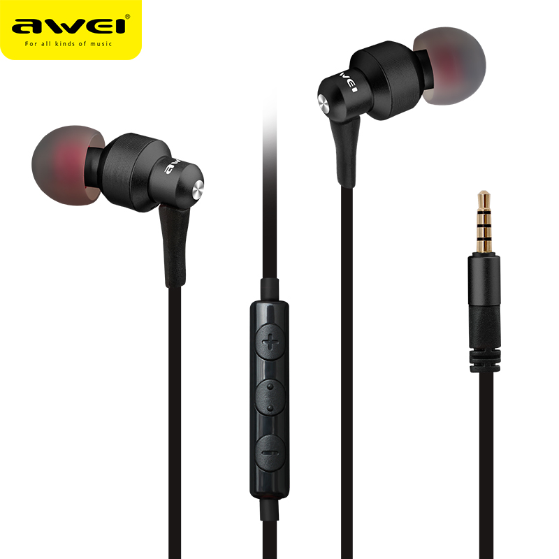 Original Awei ES-50TY Metal Stereo Earphones 3.5mm In-Ear Noise Reduction Earbuds Super Bass HIFI Headset With Mic