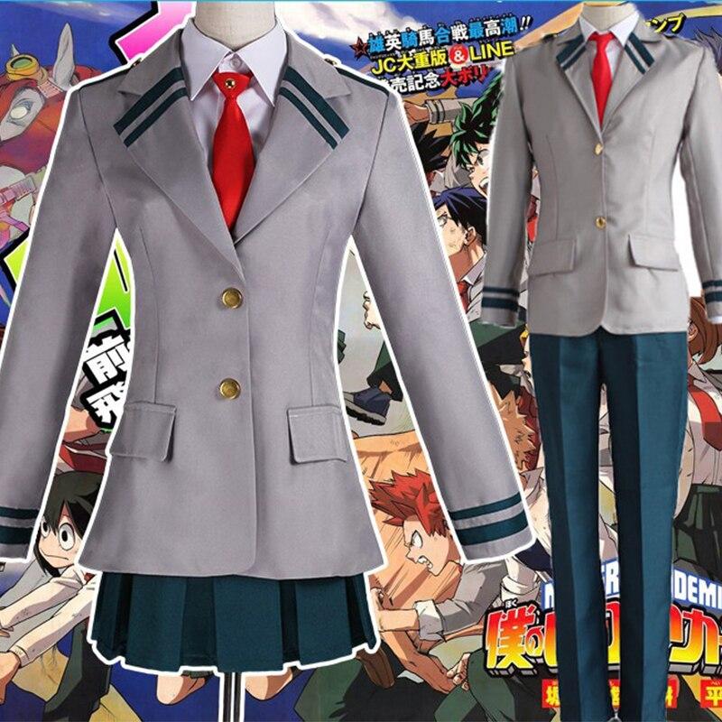 Boku no Hero Academia Midoriya Izuku Bakugou Katsuki Gray My Hero Academia OCHACO URARAKA School Uniform Cosplay Costumes