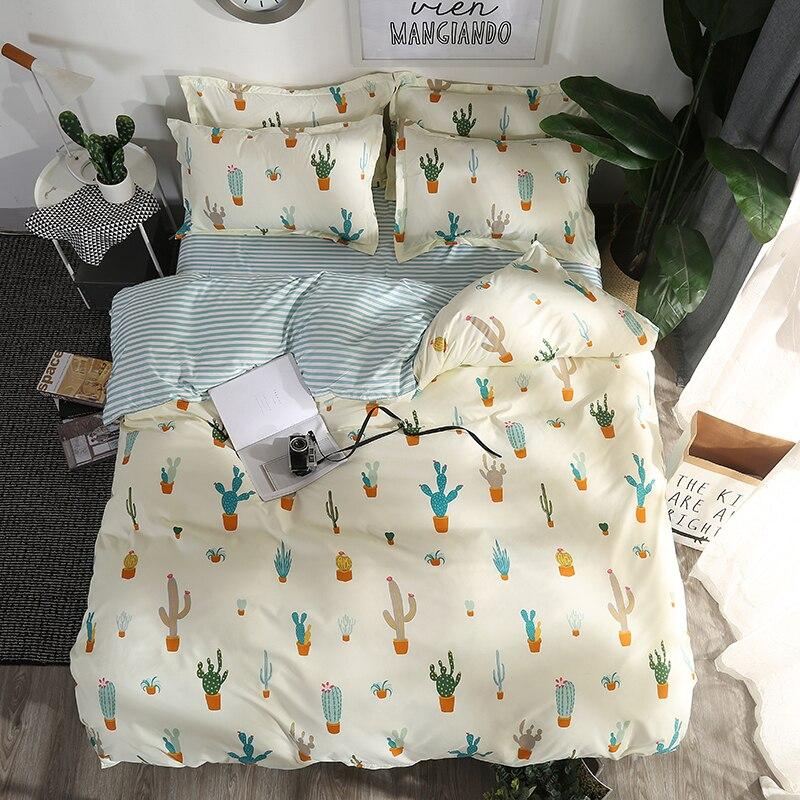 Cactus Imprimé Home Textile Bande Et Lattic Literie Ensemble Lit Couverture Lit Feuille Housse de Couette Taie D'oreiller Literie Linge de Lit Queen