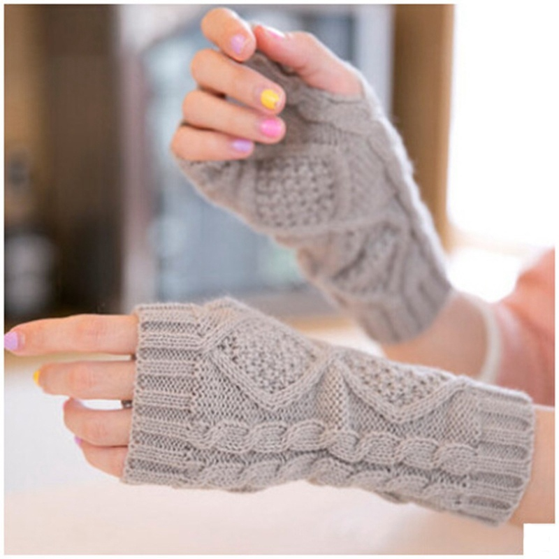 Solid Winter Gloves Women Knitted Fingerless Ladies Gloves Fashion Arm Warmer Mittens Women Glove Winter Warm Wrist With Wool
