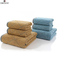 Jacquard Plaid Towel Absorbent Strong Thicken Soft Cotton House Travel Hotel Use Towels Face Hand Towel