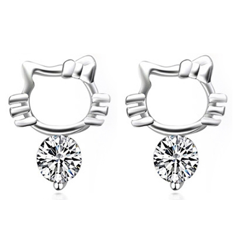 cde5cfd95 Double 11 Real Sterling 925 Jewelry Hello Kitty Silver Stud Earrings with  Cubic Zircon for Women Girls Gift-in Stud Earrings from Jewelry &  Accessories on ...
