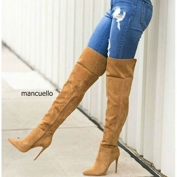 где купить Awesome Women Chic Solid Brown Suede Keen High Stiletto Heel Boots Sexy Pointed Toe Side Zip Long Boots Pretty Girls Love Shoes по лучшей цене